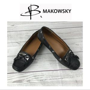 B. Makowsky Black Leather Loafers. Sz 7.5